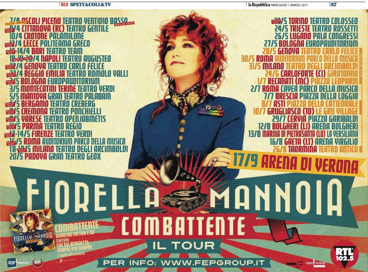 Fiorella Mannoia - The Tour  Combattente at Carloforte - Girotonno 2017 edition